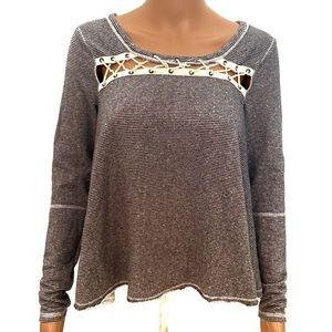Free People Gray Striped Pullover Sweatshirt